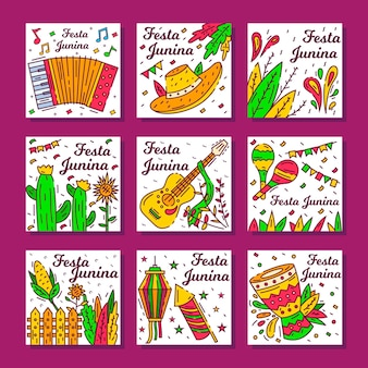 Hand drawn festa junina card set template