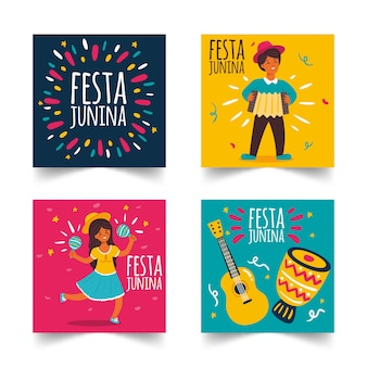 Hand drawn festa junina card set