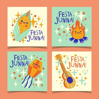 Hand drawn festa junina card template collection