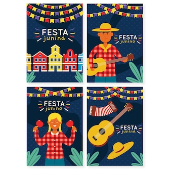 Hand drawn festa junina card with people playing