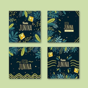 Hand drawn festa junina cards collection template