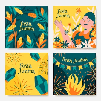 Hand drawn festa junina cards collection