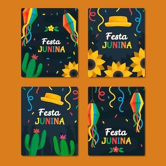 손으로 그린 축제 junina 카드 컬렉션