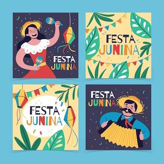 Коллекция рисованной открытки феста юнина