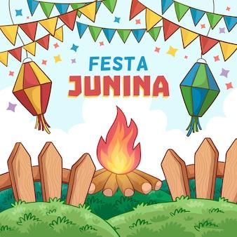 Hand drawn festa junina concept