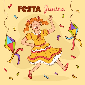 Hand drawn festa junina concept