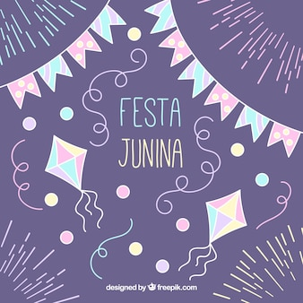 Hand drawn festa junina decoration background