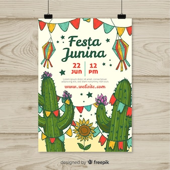 Hand drawn festa junina flyer template