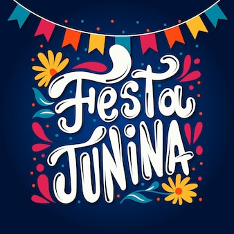 손으로 그린 축제 junina 글자