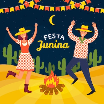 Hand drawn festa junina people dancing around campfire