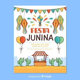Hand drawn festa junina poster template