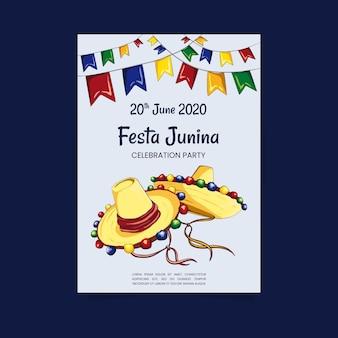 Hand drawn festa junina poster template