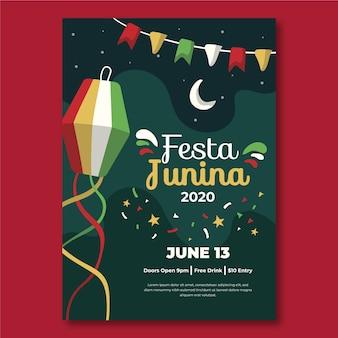Ручной обращается шаблон феста junina плакат