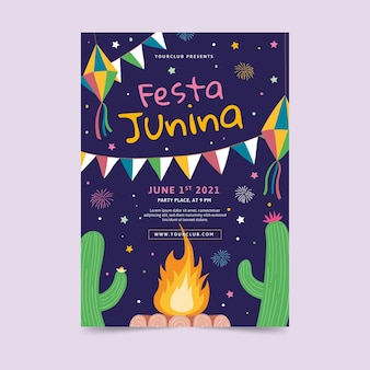 Hand drawn festa junina poster template Free Vector