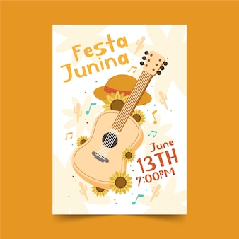 Hand drawn festa junina poster with guitar