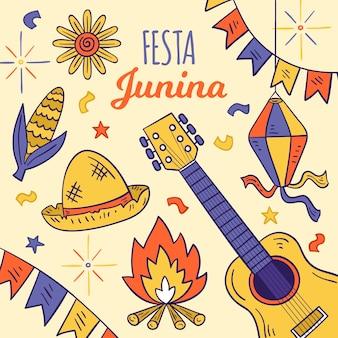 Hand-drawn festa junina theme