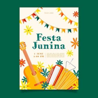 Ручной обращается шаблон вертикального плаката festa junina