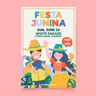Hand drawn festa junina vertical poster template