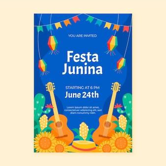 Modello di poster verticale di festa junina disegnato a mano