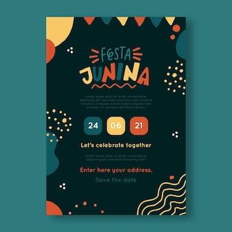Hand drawn festa junina vertical poster template