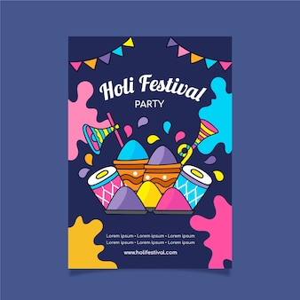 Hand drawn festival flyer with colourful design and paint powder