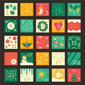 Hand drawn festive advent calendar