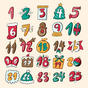 Hand drawn festive advent calendar