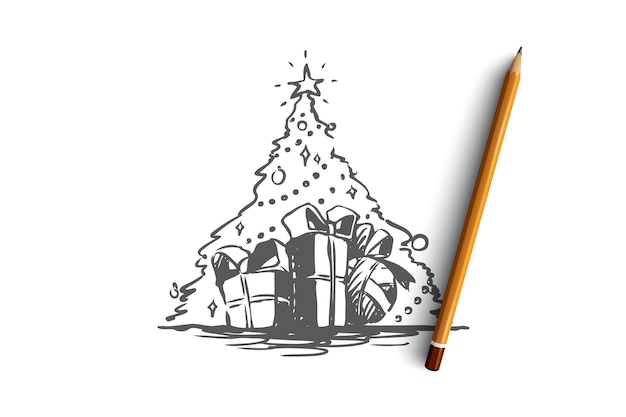 Hand drawn festive christmas tree and gifts concept sketch