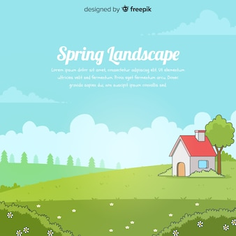 Hand drawn field spring background