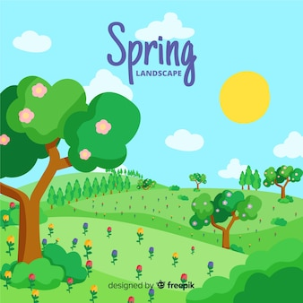 Hand drawn field spring background