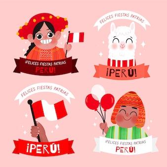 Collezione di badge fiestas patrias de peru disegnati a mano