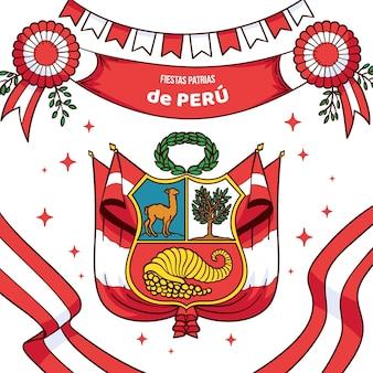 Нарисованная рукой иллюстрация патриаса перу