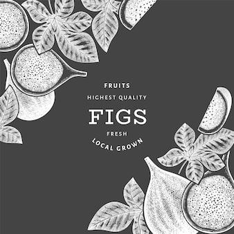 손으로 그린 무화과 과일 디자인 서식 파일입니다. 분필 보드에 유기농 신선한 음식 벡터 일러스트입니다. 레트로 무화과 과일 배너입니다.