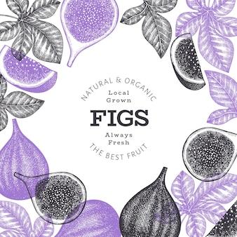 Нарисованный рукой шаблон дизайна плодов инжира. органические свежие продукты векторные иллюстрации. ретро плод инжира баннер.
