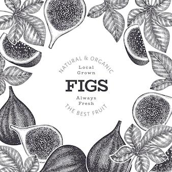 손으로 그린 무화과 과일 디자인 서식 파일입니다. 유기농 신선한 음식 벡터 일러스트 레이 션. 레트로 무화과 과일 배너입니다.