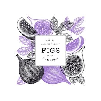 손으로 그린 된 무화과 과일 레이블 서식 파일