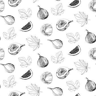 Hand drawn fig fruits and leaves seamless pattern