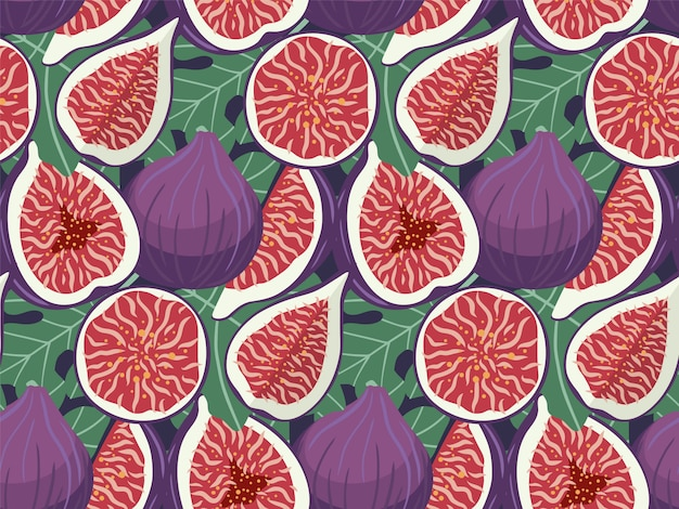 Hand drawn figs fruit seamless pattern.