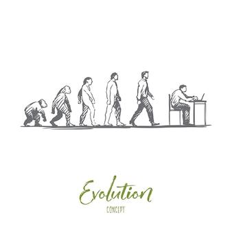 Нарисованные от руки фигуры приматов и эскиз концепции эволюции человека