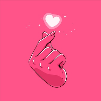 Hand-drawn finger heart concept