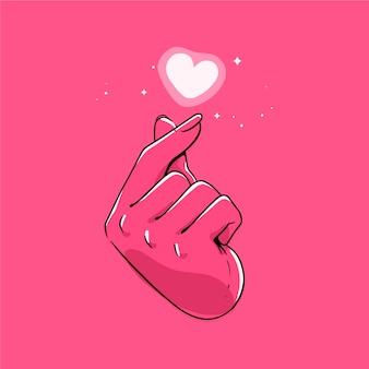 Concetto di cuore dito disegnato a mano