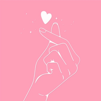 Hand-drawn finger heart design