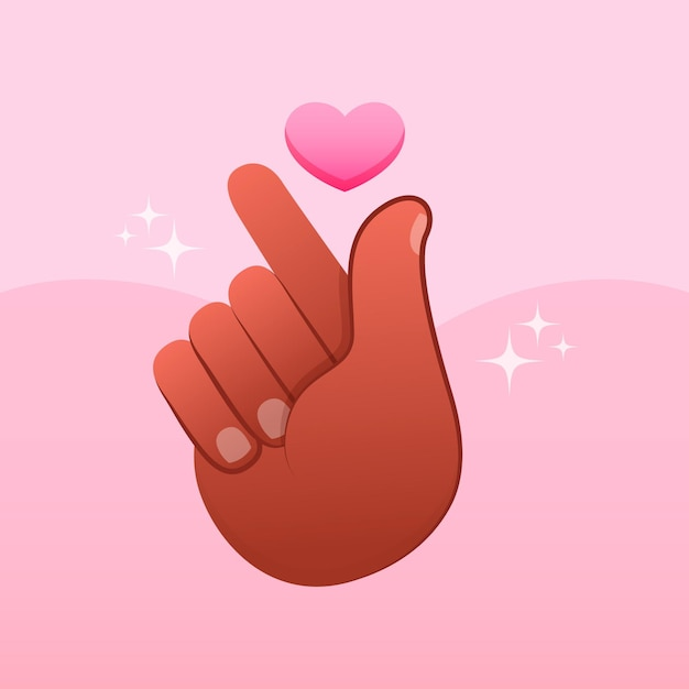 Hand drawn finger heart illustrated
