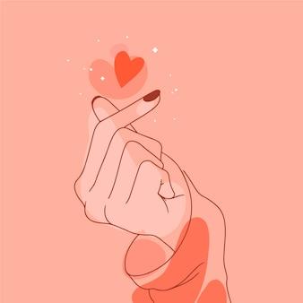 Нарисованное от руки сердце пальца