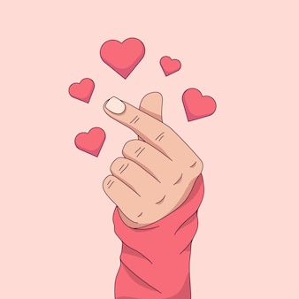 Hand drawn finger heart