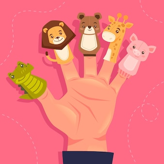 Hand drawn finger puppet set