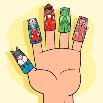 손으로 그린 된 손가락 인형
