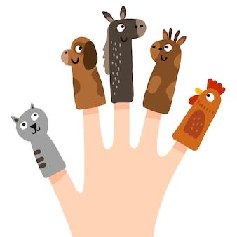 손으로 그린 손가락 인형 컬렉션