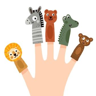 Collezione di burattini da dito disegnati a mano