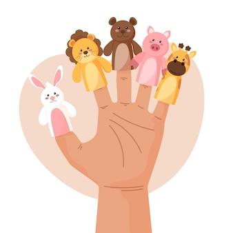 Коллекция рисованной пальчиковых кукол